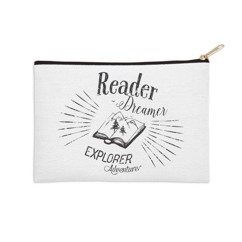 Reader Dreamer Explorer Adventurer Vintage Style Book lover Quote Accessories Zip Pouch by Flourish & Flow's Artist Shop