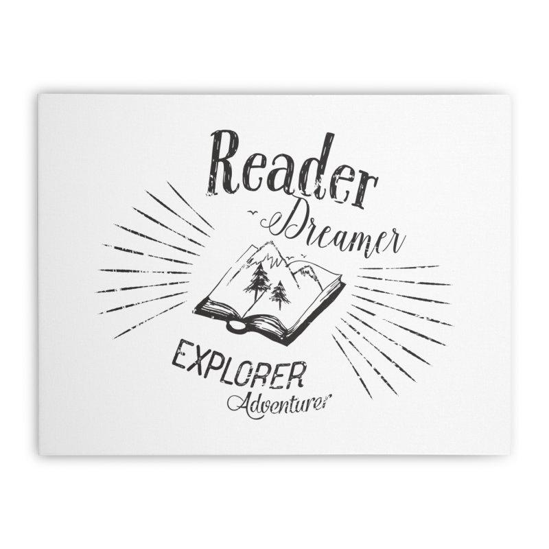 Reader Dreamer Explorer Adventurer Vintage Style Book lover Quote Home Stretched Canvas by Flourish & Flow's Artist Shop