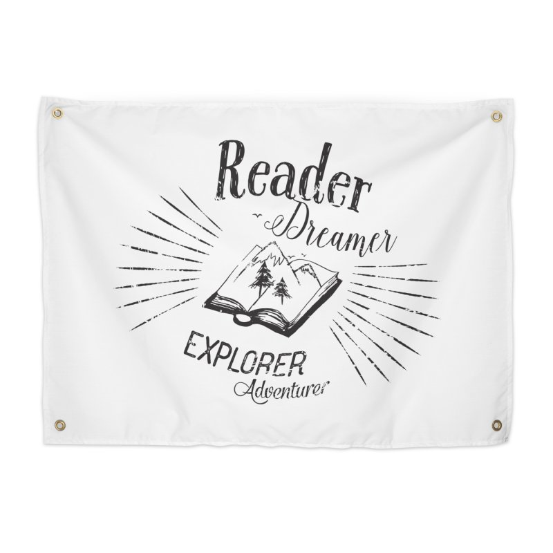 Reader Dreamer Explorer Adventurer Vintage Style Book lover Quote Home Tapestry by Flourish & Flow's Artist Shop