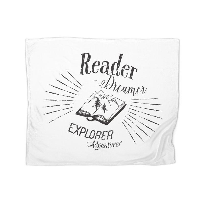 Reader Dreamer Explorer Adventurer Vintage Style Book lover Quote Home Blanket by Flourish & Flow's Artist Shop