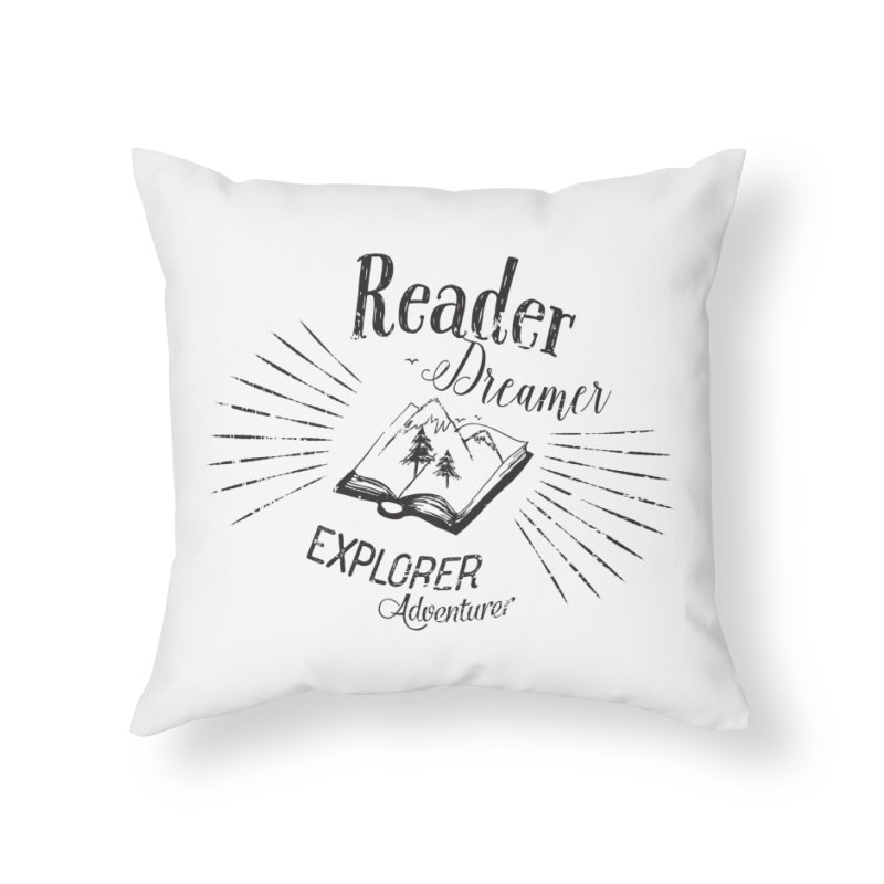 Reader Dreamer Explorer Adventurer Vintage Style Book lover Quote Home Throw Pillow by Flourish & Flow's Artist Shop