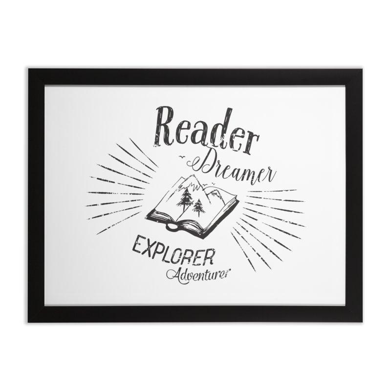 Reader Dreamer Explorer Adventurer Vintage Style Book lover Quote Home Framed Fine Art Print by Flourish & Flow's Artist Shop