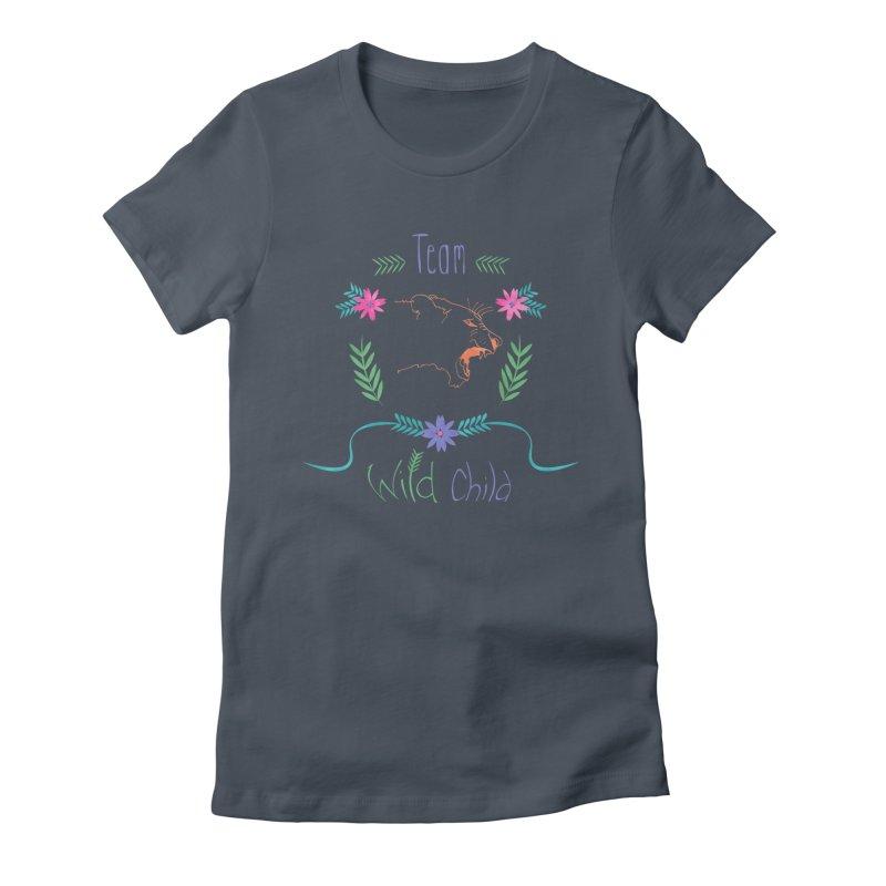 Wild Child Watercolor Lioness floral crest Women's Fitted T-Shirt by Flourish & Flow's Artist Shop