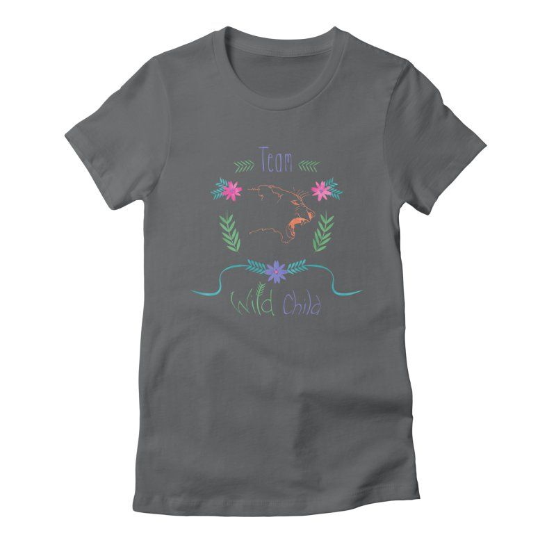 Wild Child Watercolor Lioness floral crest Women's Fitted T-Shirt by Flourish & Flow's Artist Shop