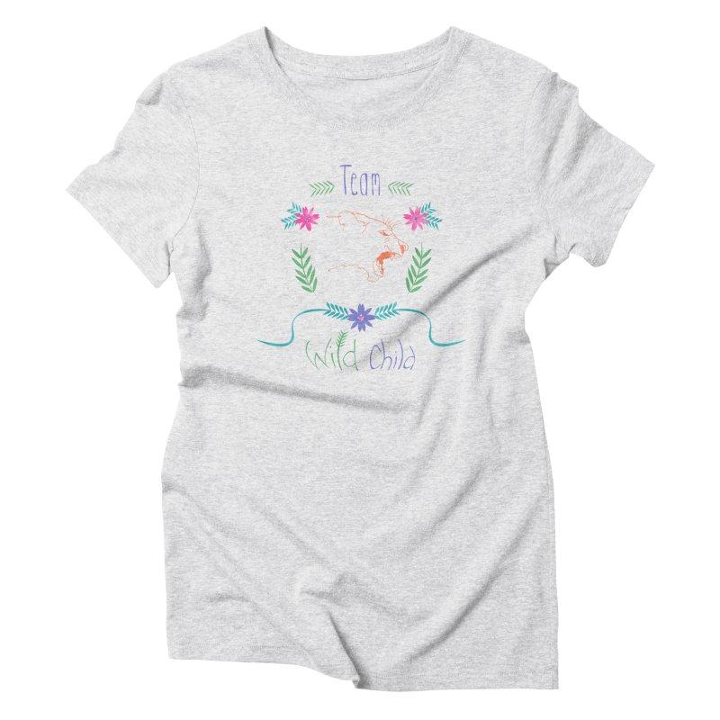 Wild Child Watercolor Lioness floral crest Women's Triblend T-shirt by Flourish & Flow's Artist Shop