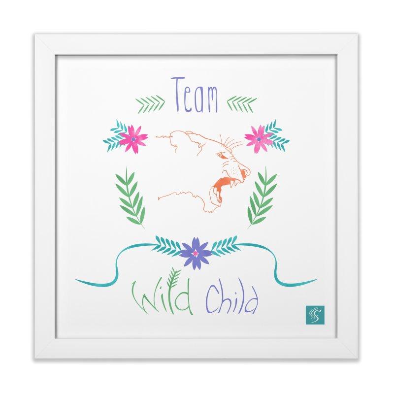 Wild Child Watercolor Lioness floral crest in Framed Fine Art Print White by Flourish & Flow's Artist Shop