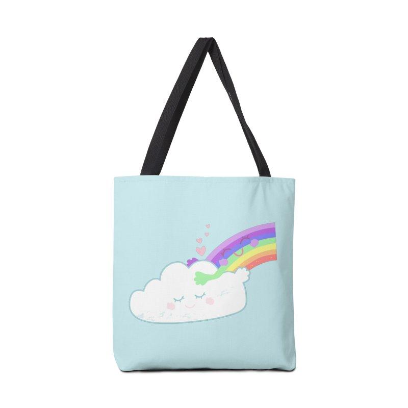 Rainbow Cloud Hug Accessories Bag by Flourish & Flow's Artist Shop