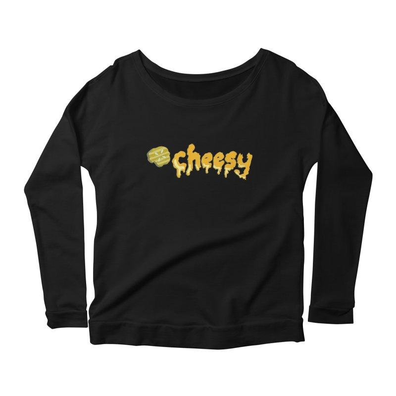 Cheesy T-shirt Women's Longsleeve Scoopneck  by Flourish & Flow's Artist Shop