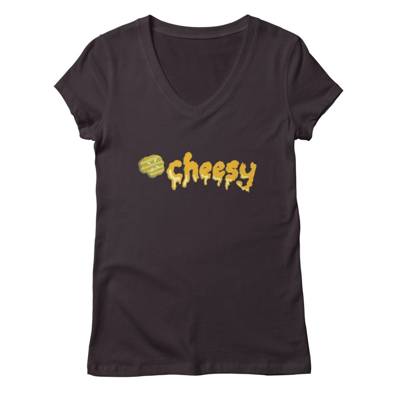 Cheesy T-shirt Women's V-Neck by Flourish & Flow's Artist Shop
