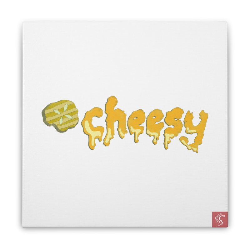Cheesy T-shirt Home Stretched Canvas by Flourish & Flow's Artist Shop