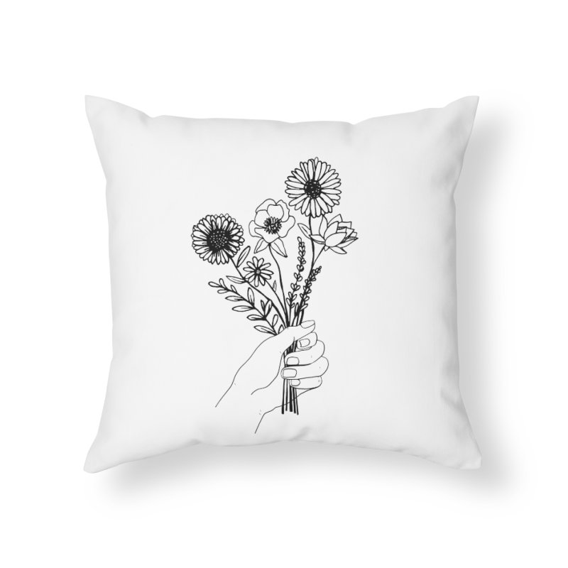 Hand Holding Flowers Home Throw Pillow by Flowers For Dreams Artist Shop