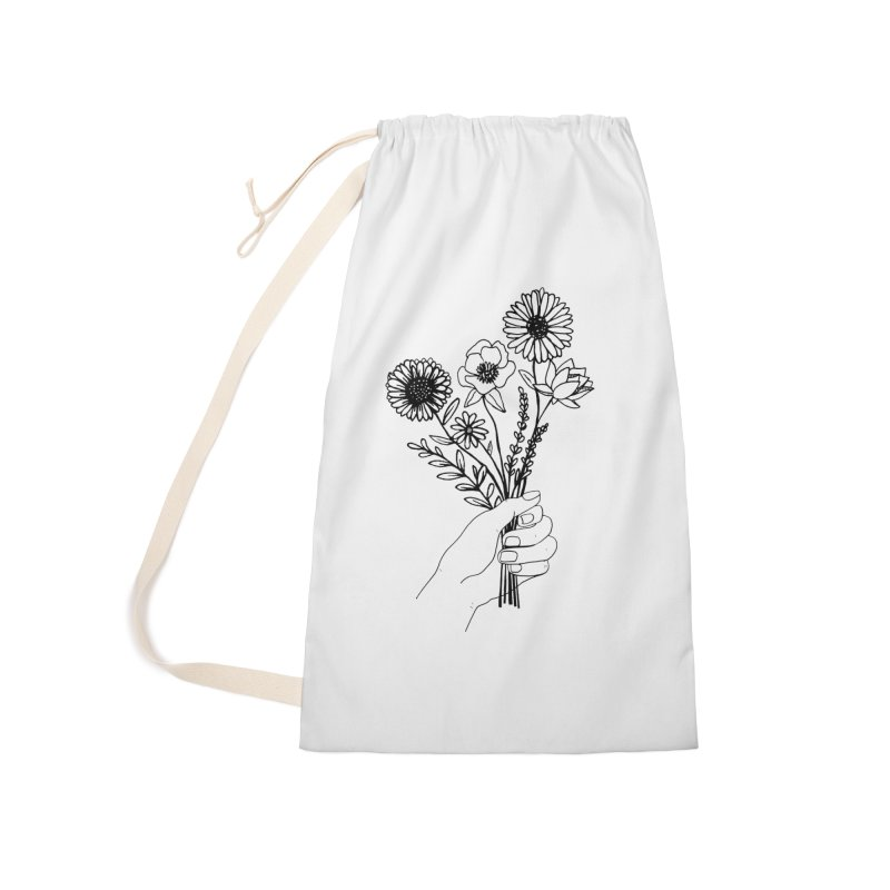 Hand Holding Flowers in Laundry Bag by Flowers For Dreams Artist Shop