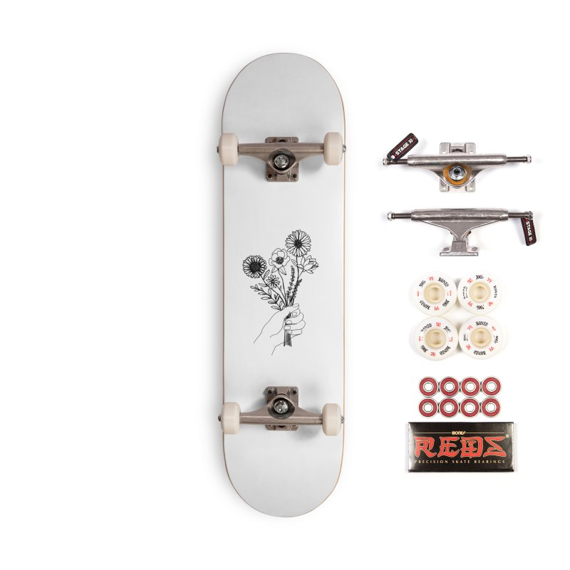 Hand Holding Flowers Accessories Complete - Pro Skateboard by Flowers For Dreams Artist Shop