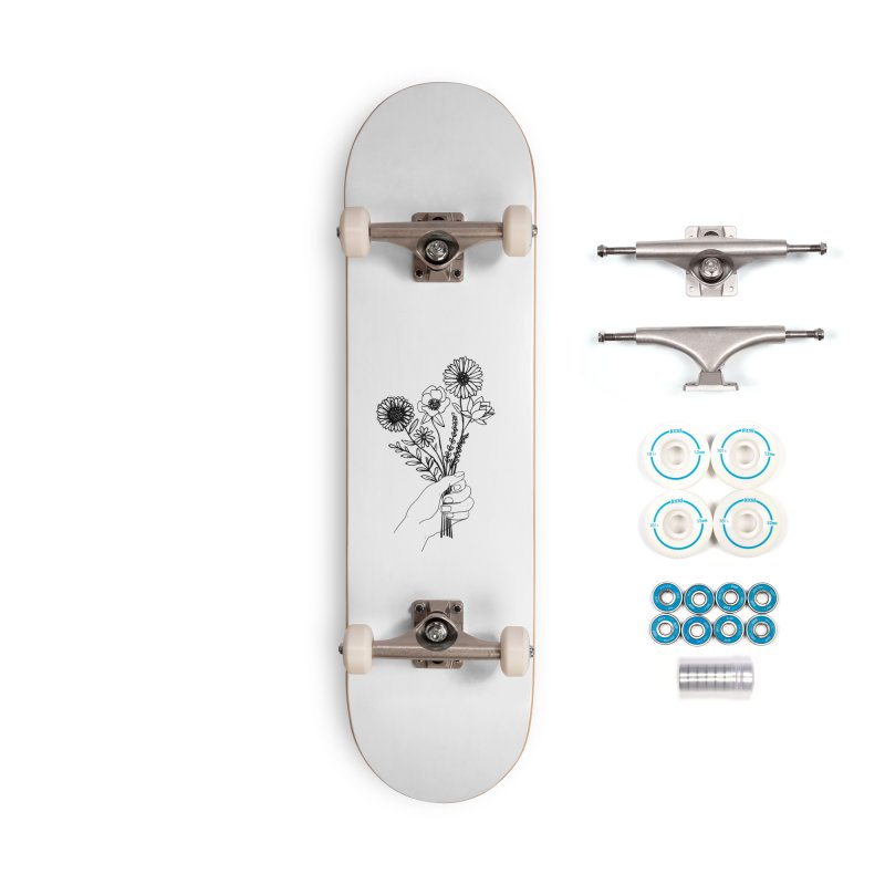 Hand Holding Flowers Accessories Complete - Basic Skateboard by Flowers For Dreams Artist Shop