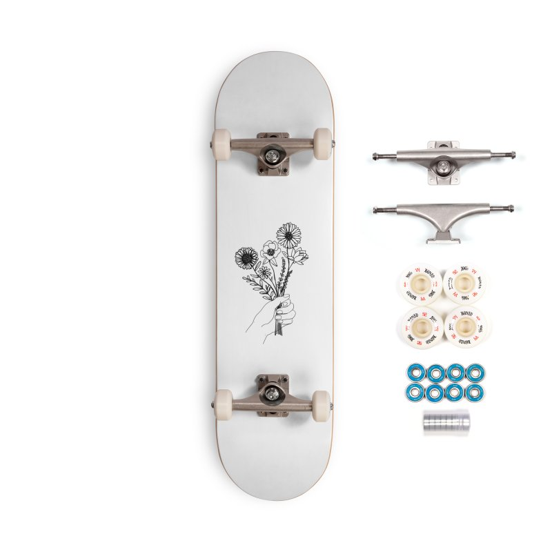 Hand Holding Flowers Accessories Complete - Premium Skateboard by Flowers For Dreams Artist Shop
