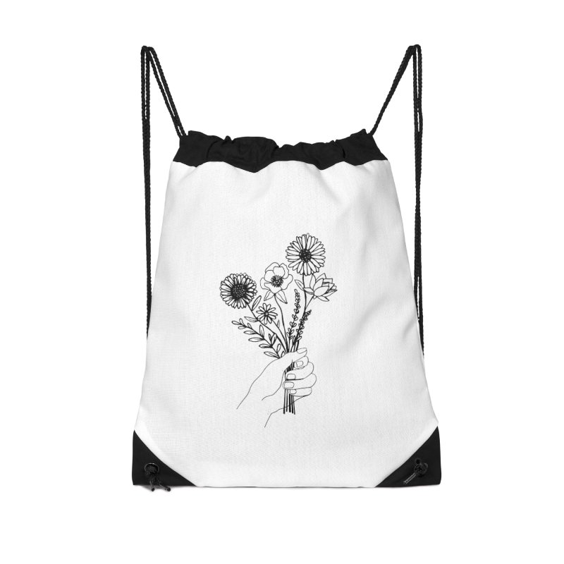 Hand Holding Flowers Accessories Drawstring Bag Bag by Flowers For Dreams Artist Shop