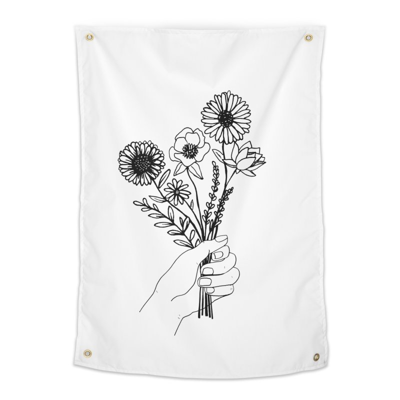 Hand Holding Flowers in Tapestry by Flowers For Dreams Artist Shop