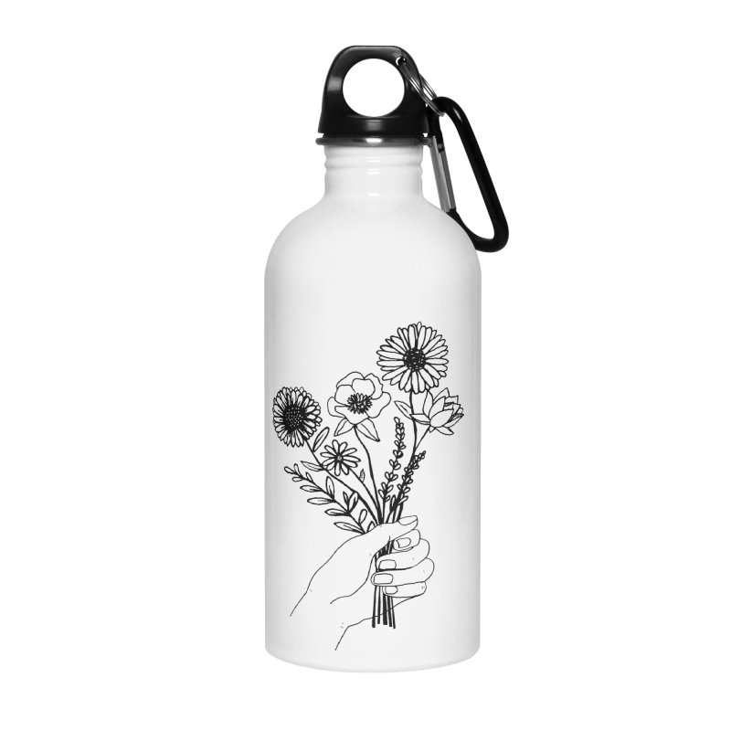 Hand Holding Flowers Accessories Water Bottle by Flowers For Dreams Artist Shop