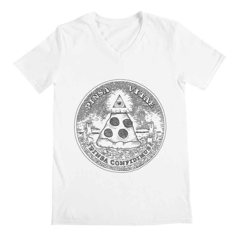 In Pizza We Trust Men's V-Neck by flyazhel's Artist Shop