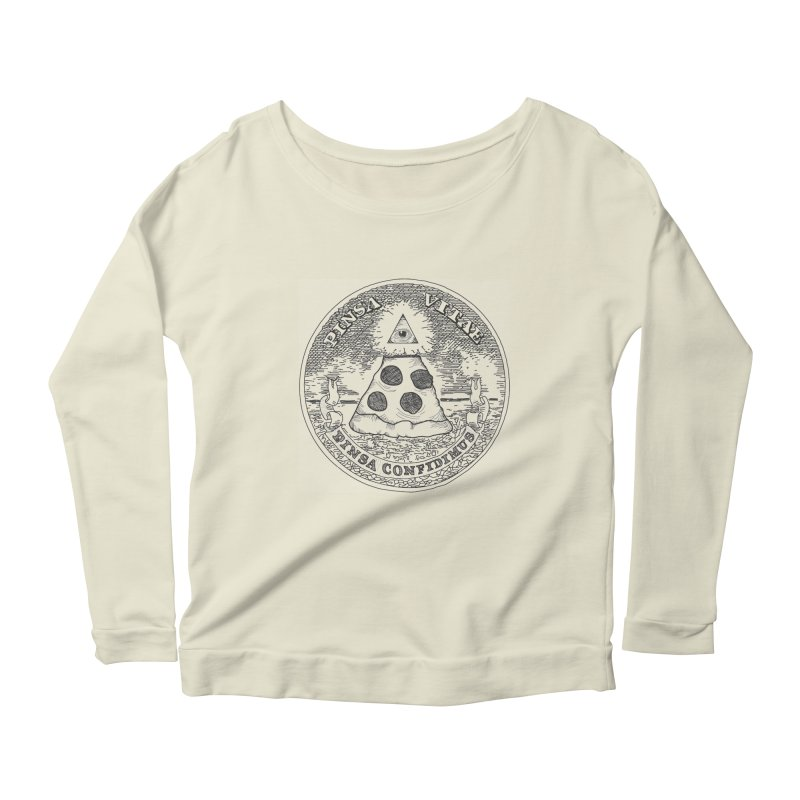 In Pizza We Trust Women's Longsleeve Scoopneck  by flyazhel's Artist Shop