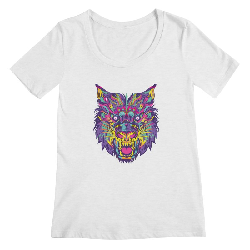 Rainbow Tiger Women's Scoopneck by flydesignstudio's Artist Shop