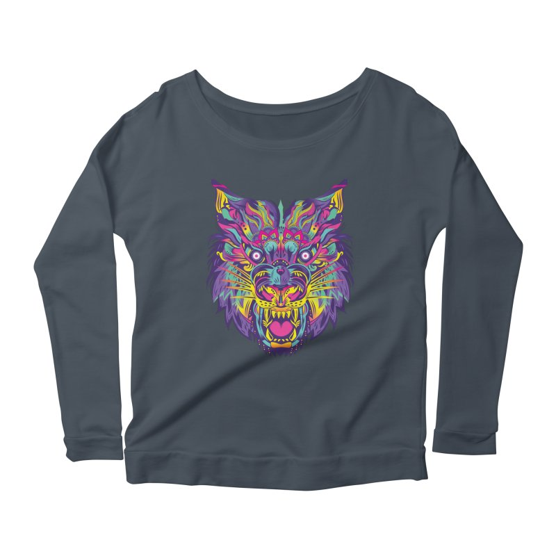Rainbow Tiger Women's Longsleeve Scoopneck  by flydesignstudio's Artist Shop