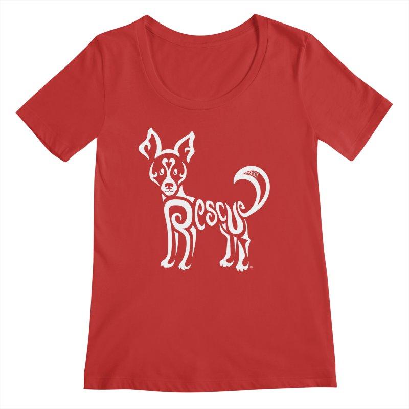 Rescued Dog Rebel Design Women's Regular Scoop Neck by Flying Canines Shop