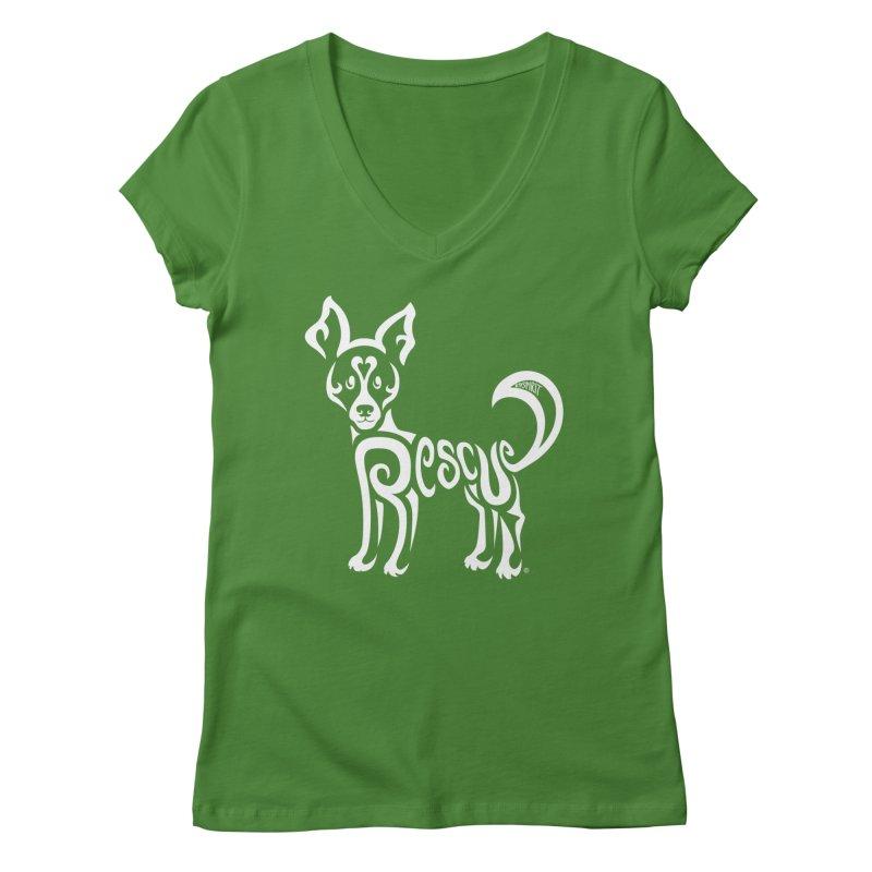 Rescued Dog Rebel Design Women's Regular V-Neck by Flying Canines Shop
