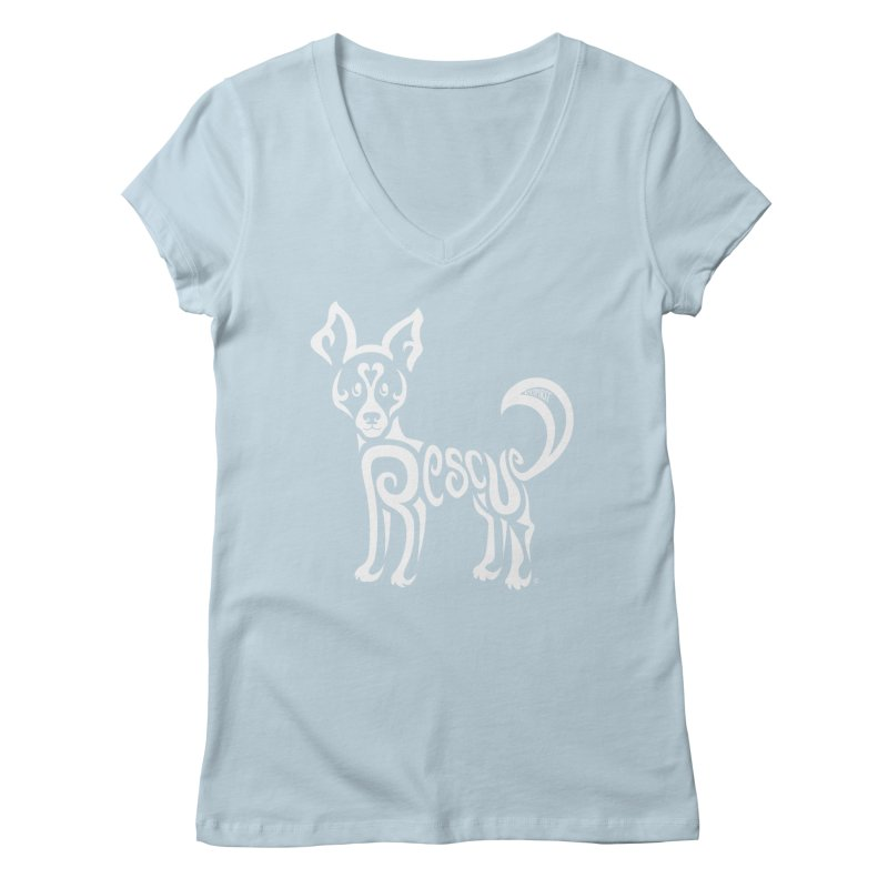 Rescued Dog Rebel Design Women's Regular V-Neck by Flying Canines Shop