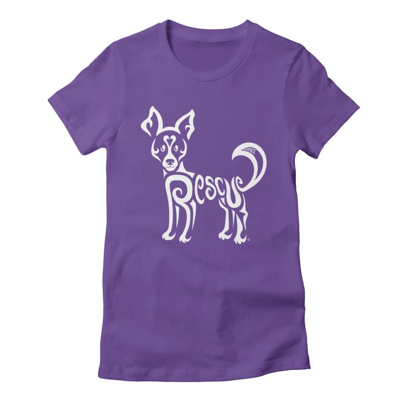 Rescued Dog Rebel Design Women's Fitted T-Shirt by Flying Canines Shop
