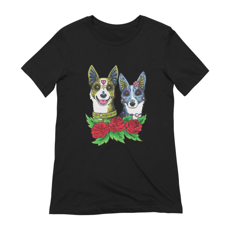 Sugar Skull Dogs Design Women's Extra Soft T-Shirt by Flying Canines Shop