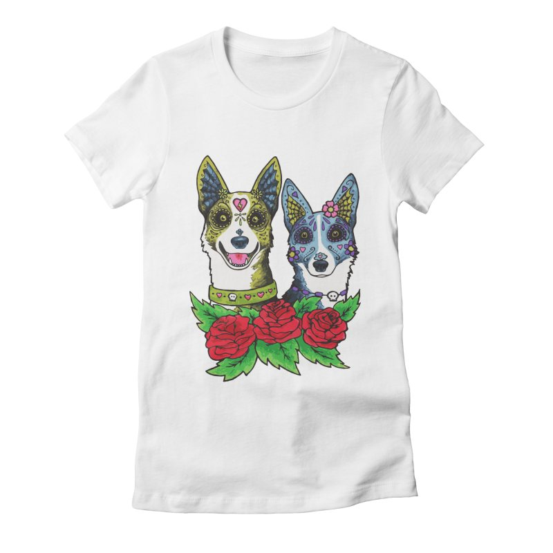 Sugar Skull Dogs Design Women's Fitted T-Shirt by Flying Canines Shop
