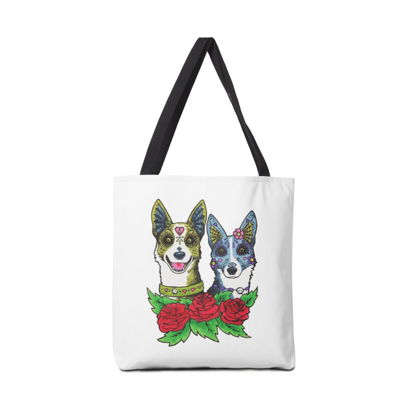 Sugar Skull Dogs Design Accessories Tote Bag Bag by Flying Canines Shop
