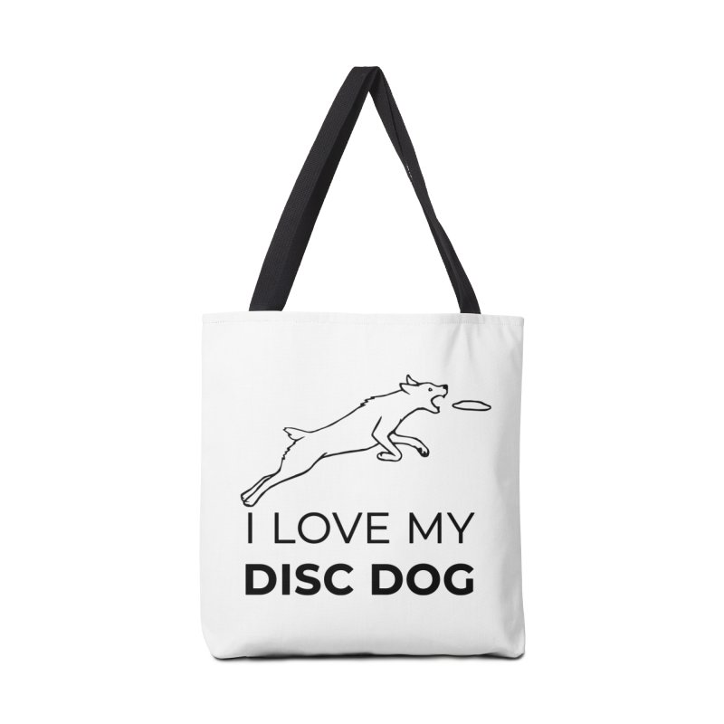 I Love My Disc Dog Design (Nubby Tail Version) Accessories Tote Bag Bag by Flying Canines Shop