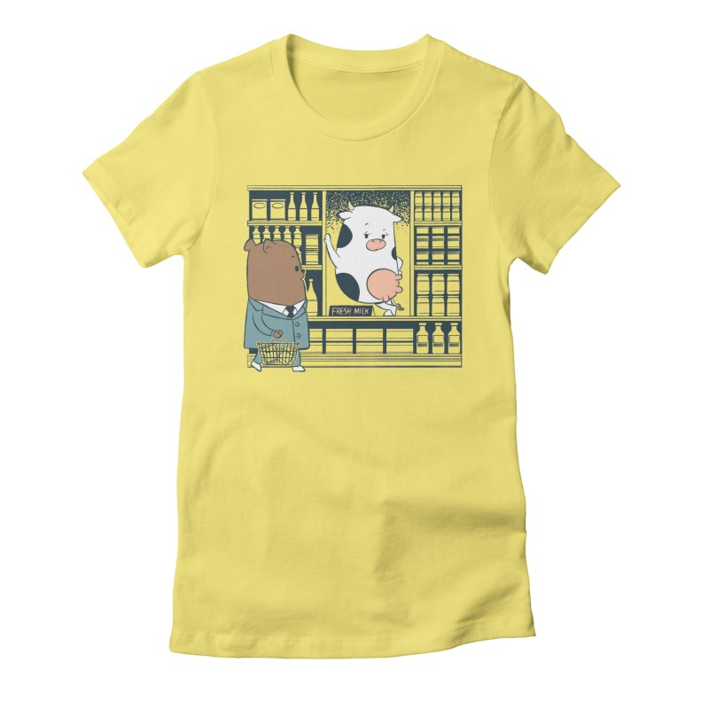 EDDIE TEDDY - Fresh Milk Women's Fitted T-Shirt by Flying Mouse365