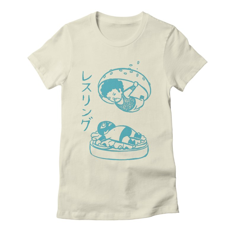 OH MY GOR - Wrestling Burger Women's Fitted T-Shirt by Flying Mouse365