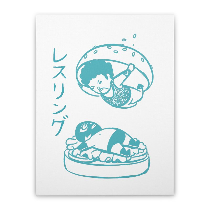 OH MY GOR - Wrestling Burger Home Stretched Canvas by Flying Mouse365