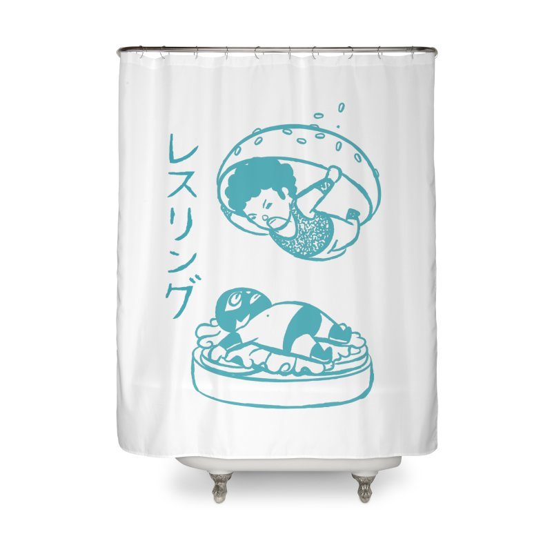 OH MY GOR - Wrestling Burger Home Shower Curtain by Flying Mouse365