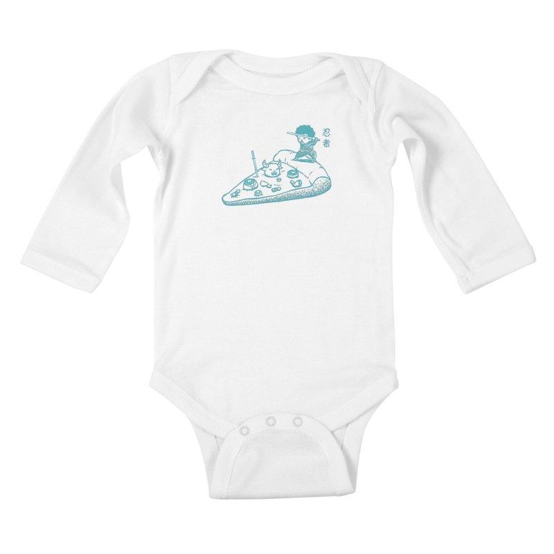 Ninja Pizza Kids Baby Longsleeve Bodysuit by Flying Mouse365