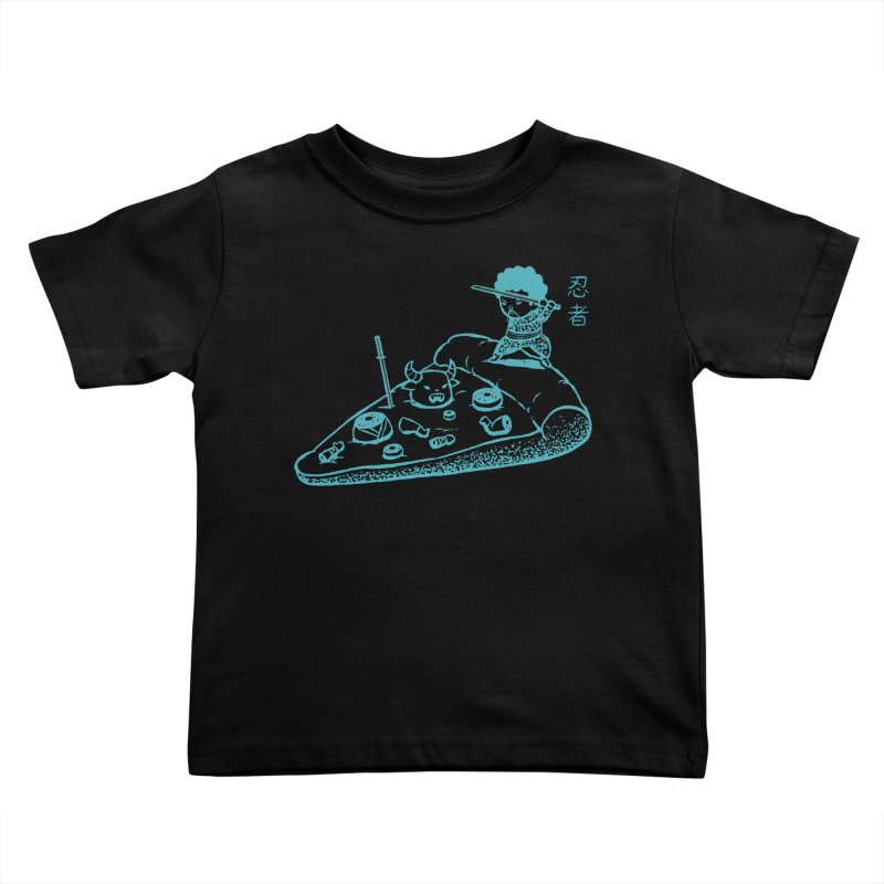 Ninja Pizza Kids Toddler T-Shirt by Flying Mouse365