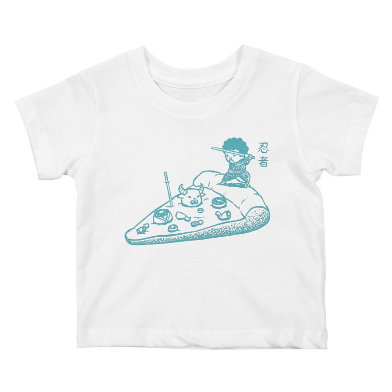 Ninja Pizza Kids Baby T-Shirt by Flying Mouse365