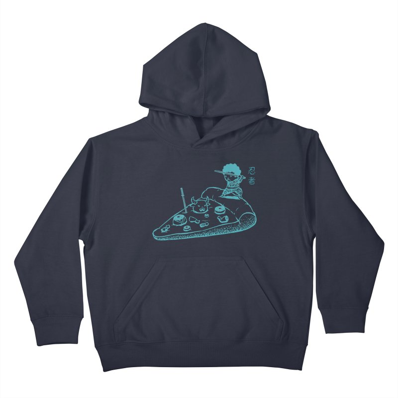 Ninja Pizza Kids Pullover Hoody by Flying Mouse365