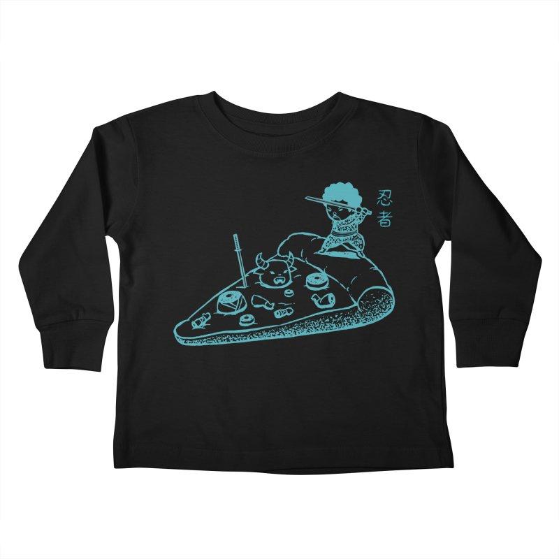 Ninja Pizza Kids Toddler Longsleeve T-Shirt by Flying Mouse365
