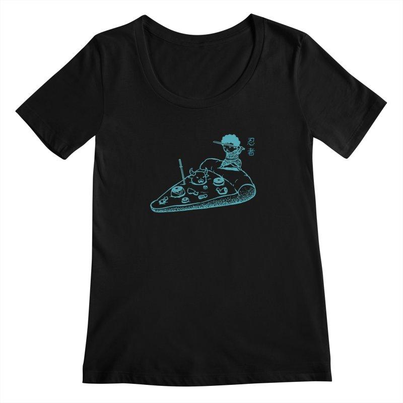 Ninja Pizza Women's Scoopneck by Flying Mouse365