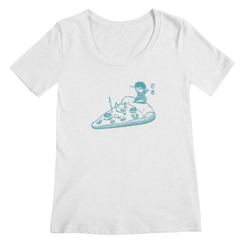 Ninja Pizza Women's Regular Scoop Neck by Flying Mouse365