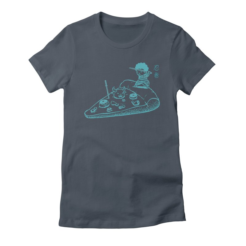 Ninja Pizza Women's Fitted T-Shirt by Flying Mouse365