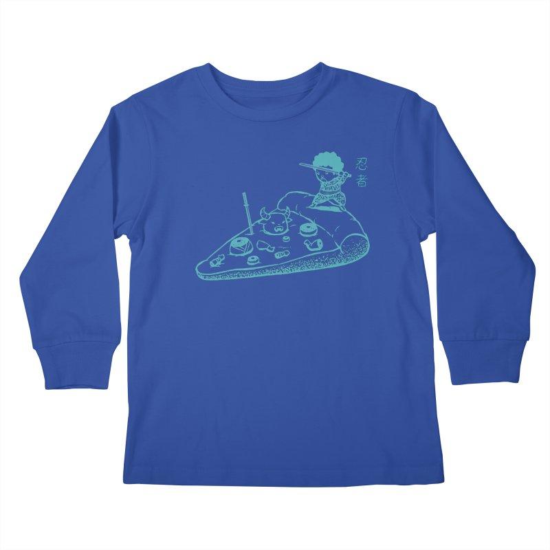 Ninja Pizza Kids Longsleeve T-Shirt by Flying Mouse365