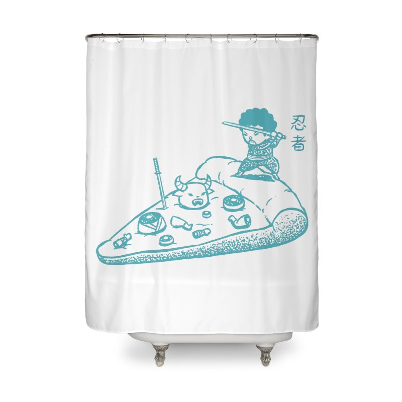 Ninja Pizza Home Shower Curtain by Flying Mouse365