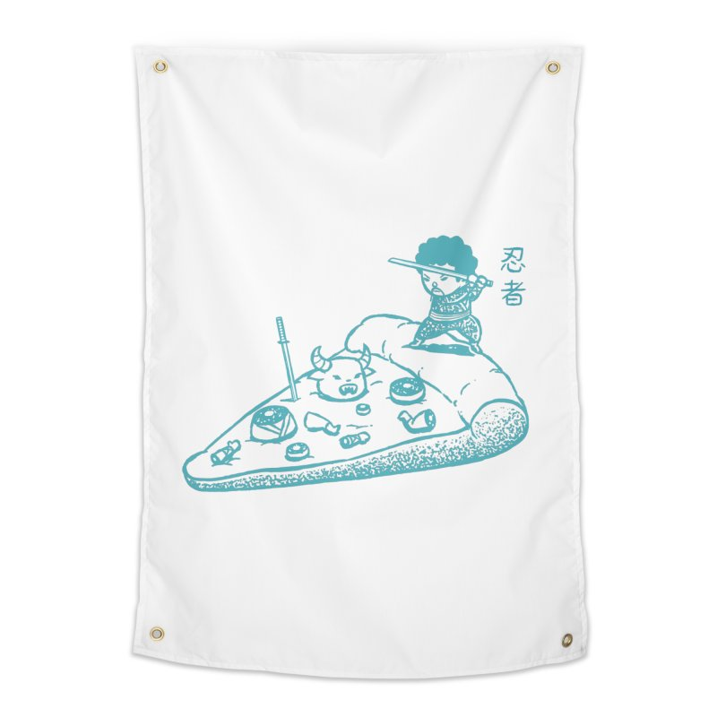 Ninja Pizza Home Tapestry by Flying Mouse365