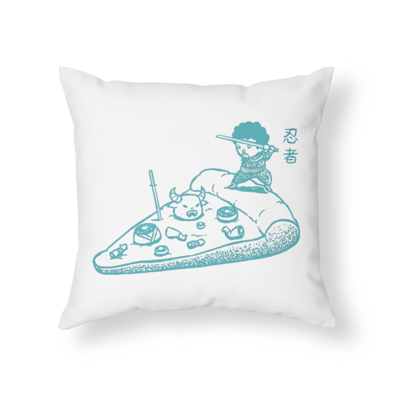 Ninja Pizza Home Throw Pillow by Flying Mouse365